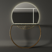 Marble & Gold Ring Console & Mirror