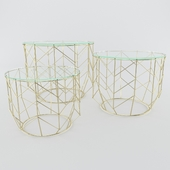 Coffe Table Wire Grid Brass
