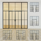 Glass partition. A door. 14