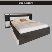 Кровать модерн  двуспальная с полками и ящиками