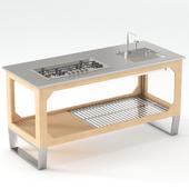 Outdoor kitchen of steel and wood Lgtek WINDOW C3 180x75x91
