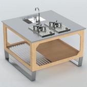 Outdoor kitchen of steel and wood Lgtek WINDOW C3 130x130x91