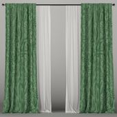 Green curtains with tulle.