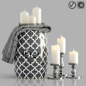 Decorative Set with Ceramic Garden Stool 2