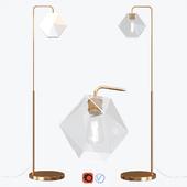 West Elm Sculptural Glass Faceted Floor Lamp