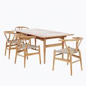 Carl Hansen CH24 Wishbone Chair + CH327 Dining Table