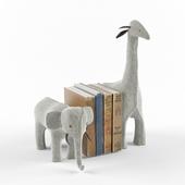WOOL FELT ANIMAL BOOKENDS - GRAY ELEPHANT & GIRAFFE