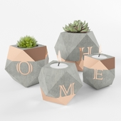 geometric cement pot