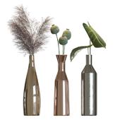 Metal vases decor set