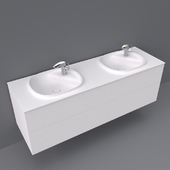 Beyond by roca base unit with four drawers and double bowl SURFEX® basin