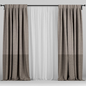Brown curtains in two colors with tulle.