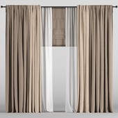 Light curtains in two colors + white tulle + Roman curtain.