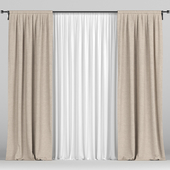 Beige curtains with tulle.