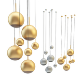 Mirror Ball Pendant Chrome and Gold Light Set