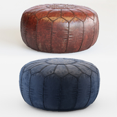 Vintage Round Moroccan Chocolate Brown Leather Pouf Hand Tooled In Marrakech