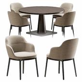 Chair and table B & B Maxalto Caratos, Maxalto Convivio