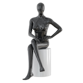 Seated faceless woman mannequin 22