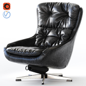 PEEM Finland_Black Leather Swivel Chair