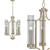 Milan Collection 3-Light Vintage Gold Chandelier with Clear Glass
