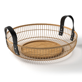 Arvin Bamboo Round Serving Basket
