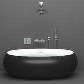 Акриловая ванна BelBagno BB18-NERO/BIA + техника GROHE