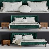 Modrest Durango Modern Green Fabric & Walnut Bed