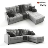 Corner, gray sofa bed Valerie, velor