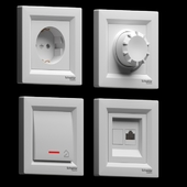 Switches and Schneider Electric sockets of the Asfora series