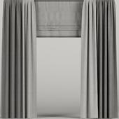 Серые шторы с римской шторой.