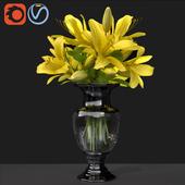 Lily Bouquet-decorative glass vase