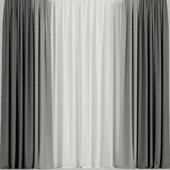 Gray curtains with tulle.