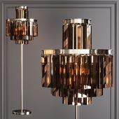 Restoration Hardware 1920S ODEON SMOKE GLASS FLOOR LAMP 4-TIER Nickel