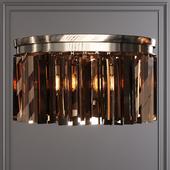 Restoration Hardware 1920S ODEON RHYS SMOKE GLASS PRISM ROUND FLUSHMOUNT 20 Nickel