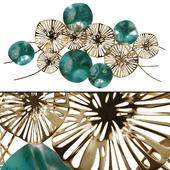 Настенный Декор Цветы Золотисто-бирюзовые
