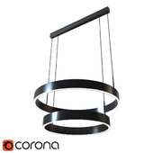 Lucretia Allura LED Architectural Double Ring Pendant Light - Linear Canopy
