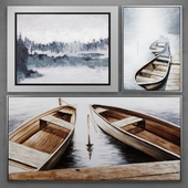 Set of paintings with boats