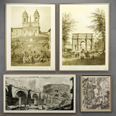 Set of engravings with views of Rome | 2