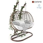 """Garden swing hanging """"cocoon"""" of rattan"""
