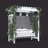 Garden swing in the style of Provence, white