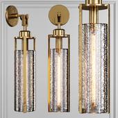 Restoration Hardware ARPEGE CAST GLASS CYLINDER SCONCE Brass
