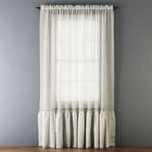 Ruffled Cotton Sheer Curtain