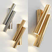 Pair of Two Oblique Rods Wall Sconces by Sciolari