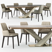 Cattelan Italia Belinda armchair Stratos table set