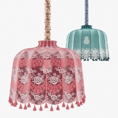 Fabric lampshade with tassels