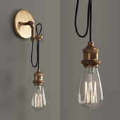 Wired Industrial Convertible Wall Sconce and Pendant