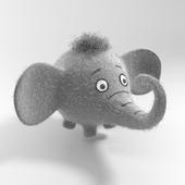 Felt gray elephant