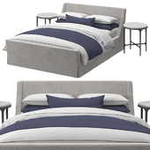 RH - Preston Slipcovered Bed With Footboard & Thaddeus Forged Round Bedside Table