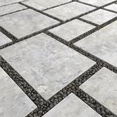 Square pebble / Площадь из плит с галькой