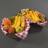 Ротанговые корзины с фруктами