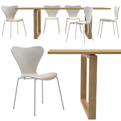 Essay Table and Series 7 Chairs by Fritz Hansen
